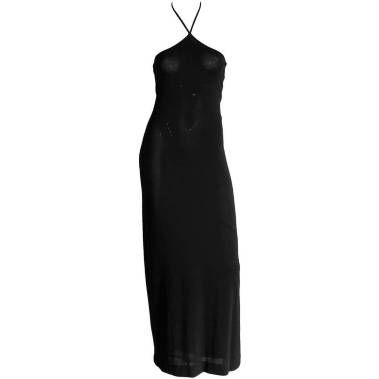 That Rare & Iconic Tom Ford For Gucci FW 1997 Black Halter Maxi Dress! IT42 1