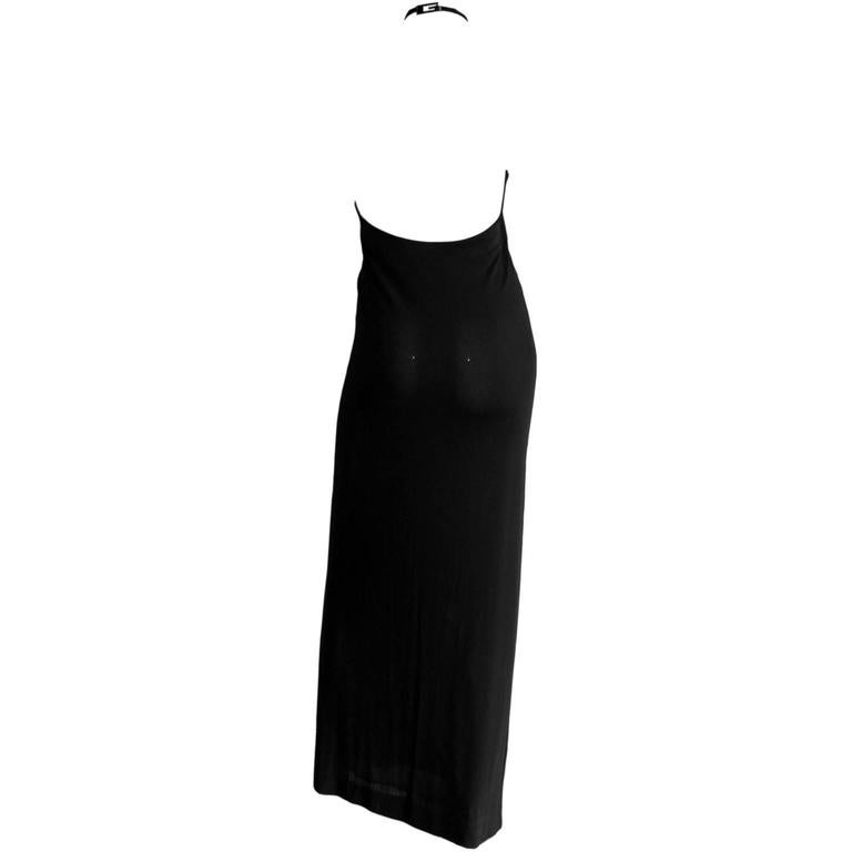 That Rare & Iconic Tom Ford For Gucci FW 1997 Black Halter Maxi Dress! IT42 2