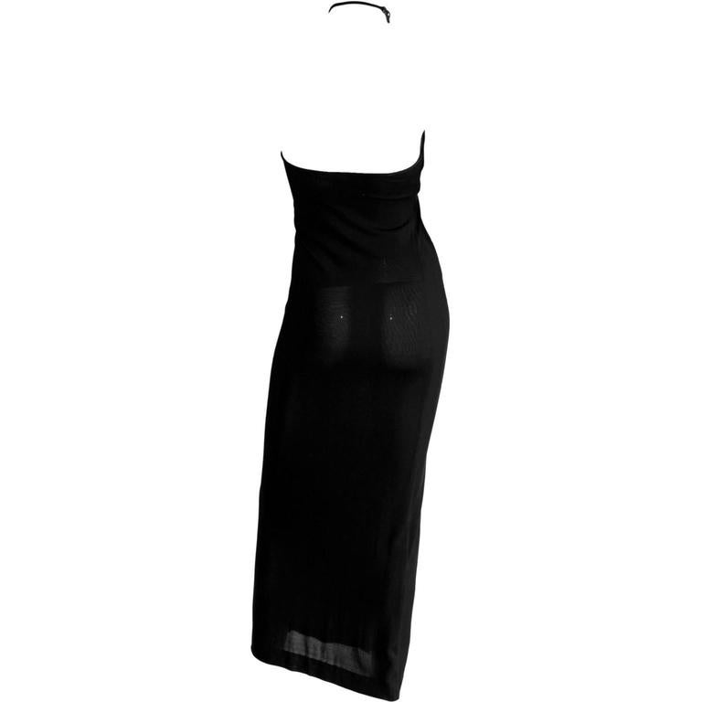 Authentic Rare & Iconic Tom Ford For Gucci FW 1997 Black Halter Maxi Dress! IT44 2
