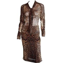 Iconic Tom Ford YSL Rive Gauche SS 2002 Silk Safari Runway Blouse & Skirt! FR 36