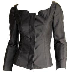 Absolutely Gorgeous Tom Ford Gucci FW 2003 Charcoal Corseted Runway Jacket! IT42