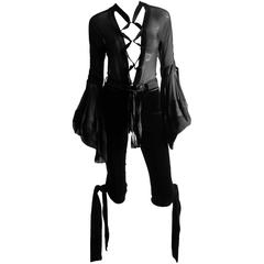 Exquisite Tom Ford YSL Rive Gauche FW 2002 Black Silk Poet Blouse & Pants! FR 36