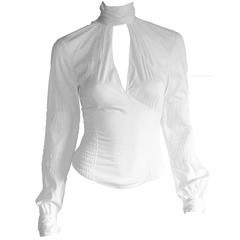 That Heavenly Tom Ford Gucci FW 2003 Collection White Corseted LS Blouse! IT 40