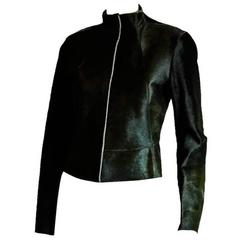 Free Shipping: Heavenly Donna Karan New York Deep Green Fitted Pony Jacket! 2-4