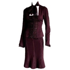 Iconic Tom Ford YSL Rive Gauche FW 2002 Plum Silk Blouse & Trumpet Skirt! FR 38