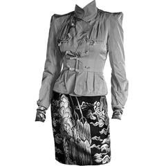 That Heavenly Tom Ford YSL Rive Gauche FW 2004 Chinoiserie Jacket & Skirt! FR38