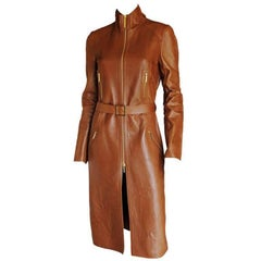 That Gorgeous Tom Ford Gucci FW 2001 Collection Brown Leather Runway Coat! IT 42