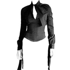Incredibly Chic Tom Ford Gucci FW 2003 Collection Black Corseted LS Blouse! IT42