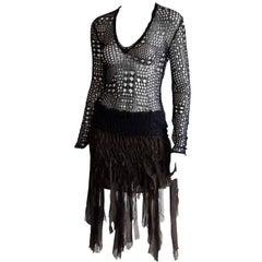 Amazing Tom Ford For YSL Rive Gauche FW 2002 Black Silk Knit Safari Mombasa Top!