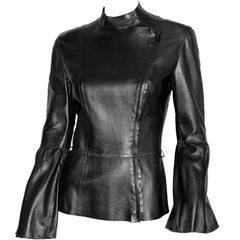 That Iconic Tom Ford Gucci FW 1999 Black Leather Bell-Sleeve Runway Jacket! IT42