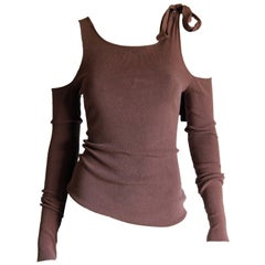 The Most Gorgeous Tom Ford For Gucci FW 2003 Brown Cold-Shoulder Sweater! M