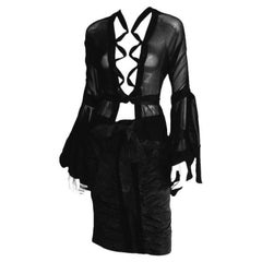 Free Shipping: Iconic Tom Ford YSL Rive Gauche FW 2002 Poet Blouse & Skirt! FR40