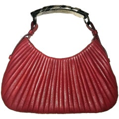 Dreamy Tom Ford YSL FW 2002 Ribbed Scarlet Red Leather Runway & Ad Campaign Bag!