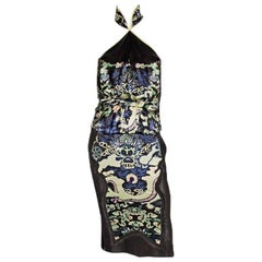 That Heavenly Tom Ford YSL Rive Gauche FW 2004 Chinoiserie Blouse & Skirt! FR 40