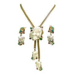 Famous Vintage Selro Pendant Necklace & Earrings