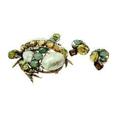 Vintage 1980's  Iradj Moini Genuine Stone Frog Pin & Earrings