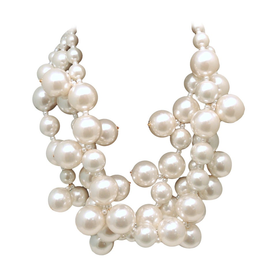 """Kenneth Jay Lane Faux Pearl Multi-Strand """"Bubble"""" Necklace For Sale"""