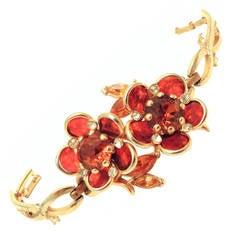 Vintage 1940s Retro Floral Design Rhinestone Bracelet
