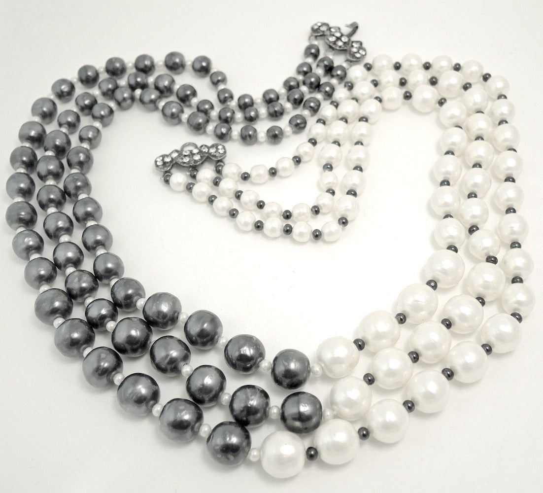 Vintage Signed Chanel 3-Strand Gray & White Faux Pearl Necklace 2