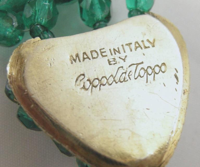 Vintage 1950's Coppola e Toppo Italy 2-Tone Green Glass Bead Bib Necklace 4