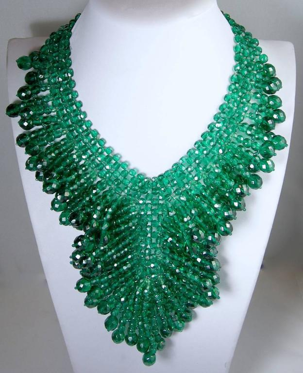 Vintage 1950's Coppola e Toppo Italy 2-Tone Green Glass Bead Bib Necklace 2