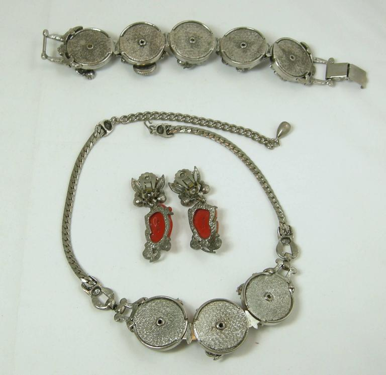 Famous Vintage Selro Red Devil Necklace, Earrings And Bracelet Set In Excellent Condition For Sale In New York, NY