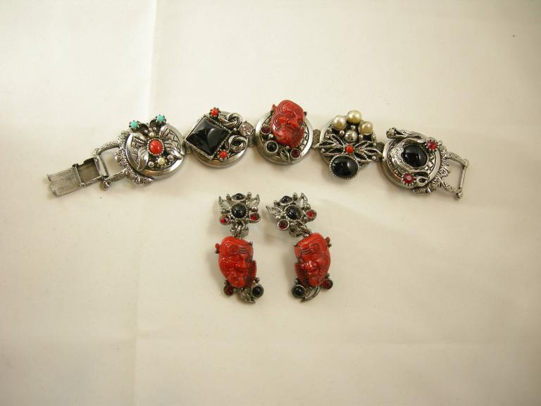 Famous Vintage Selro Red Devil Necklace, Earrings And Bracelet Set For Sale 1