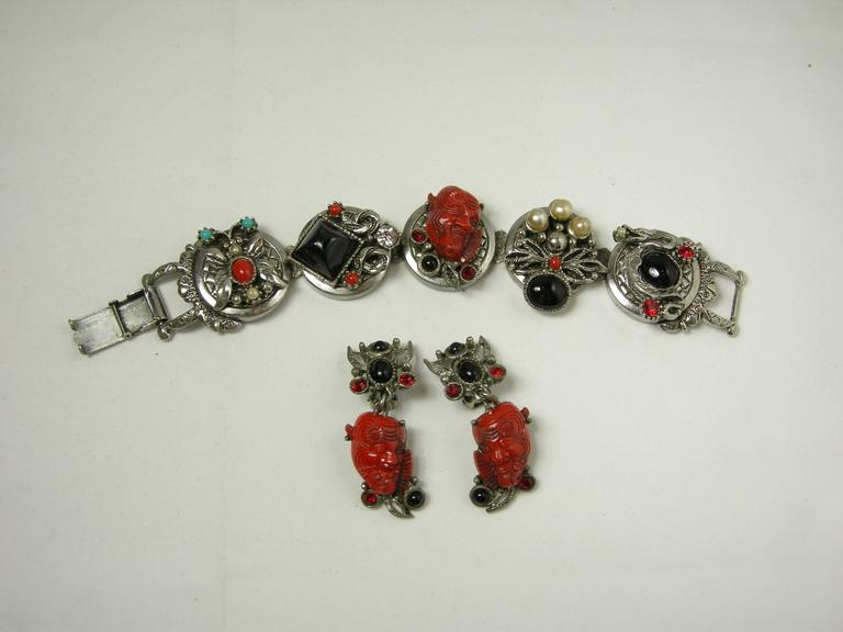 Famous Vintage Selro Red Devil Necklace, Earrings And Bracelet Set For Sale 2