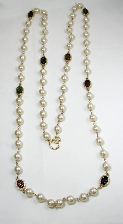 LONG Vintage 80s Signed Chanel Gripoix Glass & Faux Pearl Necklace Sautoir 2