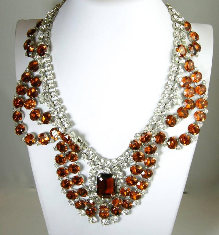 One-of-a-Kind Signed Robert Sorrell Topaz & Clear Rhinestone Necklace & Earrings In Excellent Condition For Sale In New York, NY