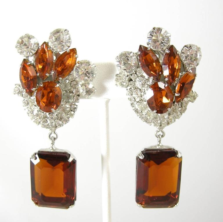 Women's or Men's One-of-a-Kind Signed Robert Sorrell Topaz & Clear Rhinestone Necklace & Earrings For Sale