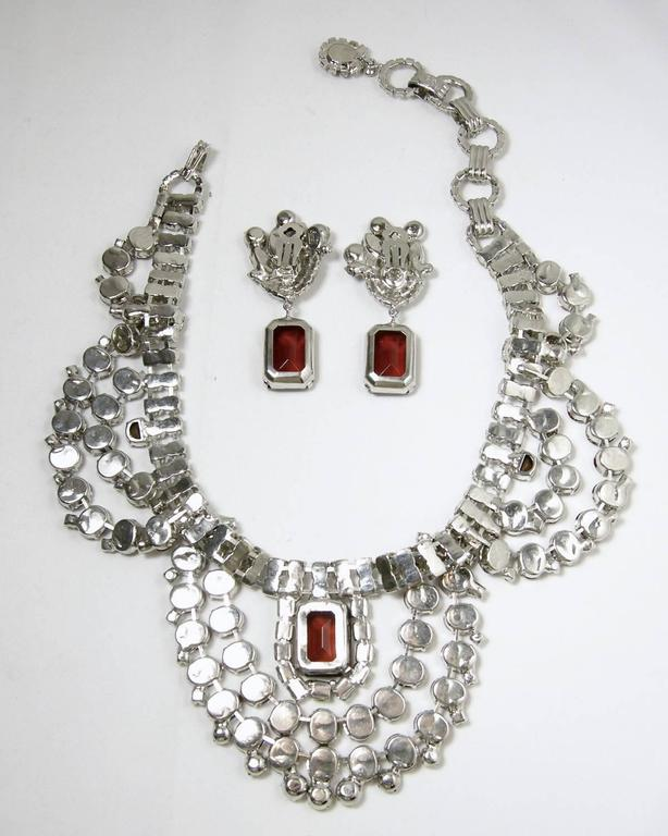 One-of-a-Kind Signed Robert Sorrell Topaz & Clear Rhinestone Necklace & Earrings For Sale 1