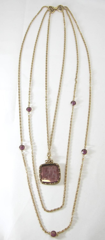 Vintage Signed Goldette Intaglio 3 Strand Pendant Necklace