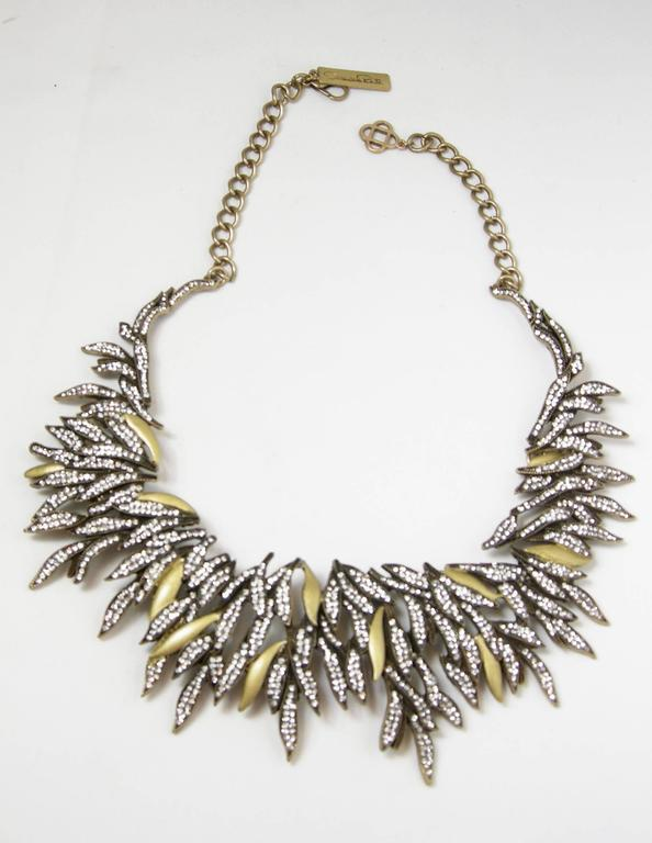 Women's Oscar De La Renta Runway Cascading Crystal Leaf Necklace For Sale