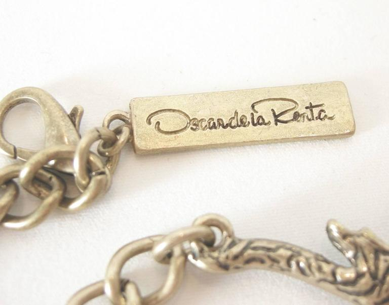 Oscar De La Renta Runway Cascading Crystal Leaf Necklace In Excellent Condition For Sale In New York, NY