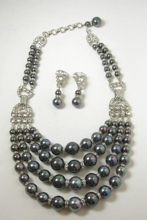 Women's One-Of-A-Kind Robert Sorrell Tahitian Pearl and Crystal Necklace Set For Sale