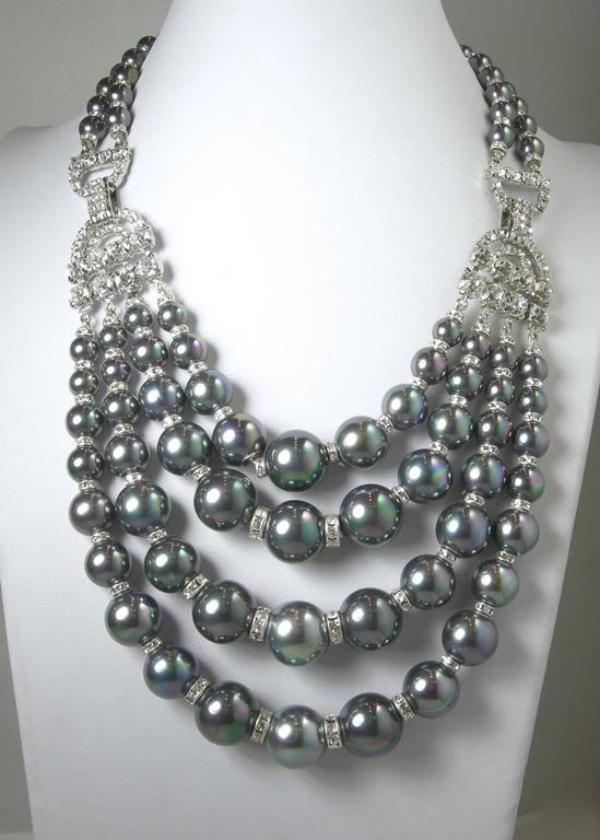 One-Of-A-Kind Robert Sorrell Tahitian Pearl and Crystal Necklace Set For Sale 1