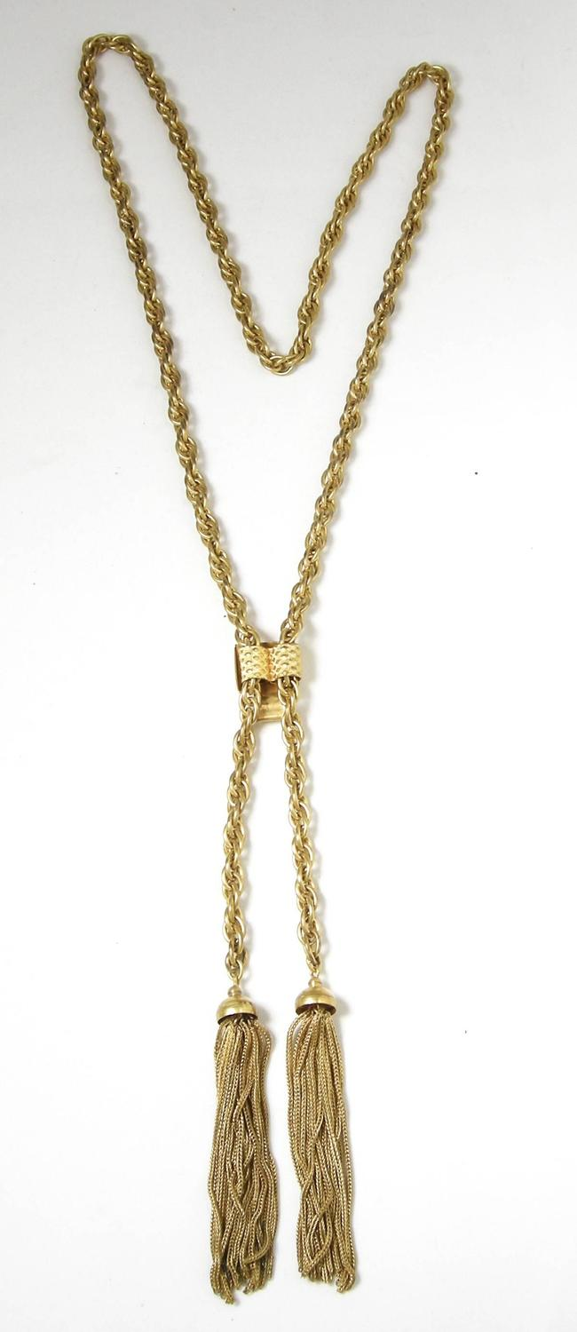 Vintage Highly Desired 60s Slide Tassel Necklace At 1stdibs