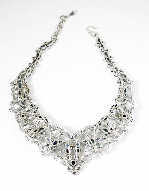 Vintage Christian Dior 1960s Blue Crystal Star Necklace 4