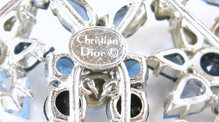 Vintage Christian Dior 1960s Blue Crystal Star Necklace 3
