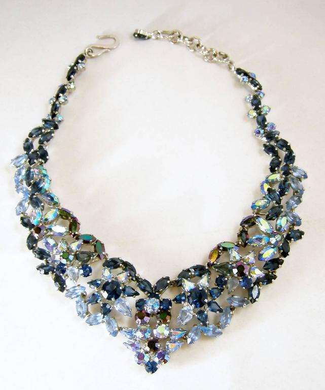 Vintage Christian Dior 1960s Blue Crystal Star Necklace 2
