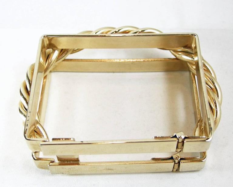 Women's Designer Square Gold-Tone Cuff Bracelet For Sale