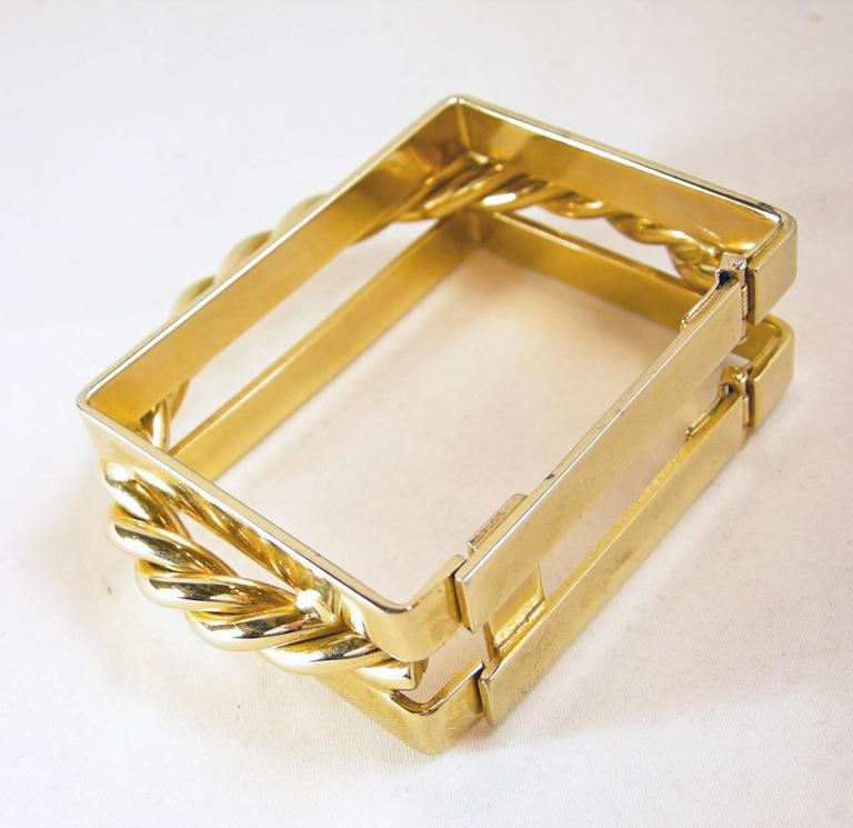 Designer Square Gold-Tone Cuff Bracelet In Excellent Condition For Sale In New York, NY