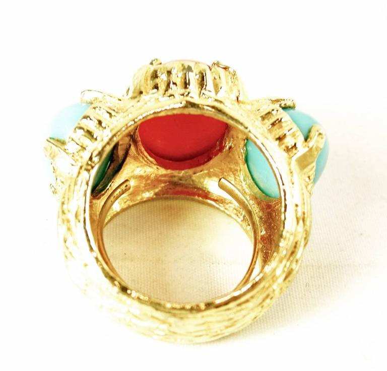 Vintage 1980s Faux Turquoise Coral Cocktail Ring 4