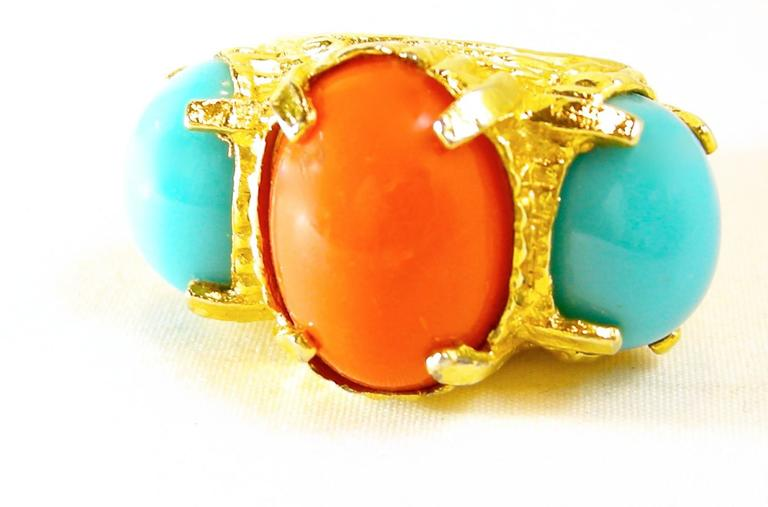 Vintage 1980s Faux Turquoise Coral Cocktail Ring 2