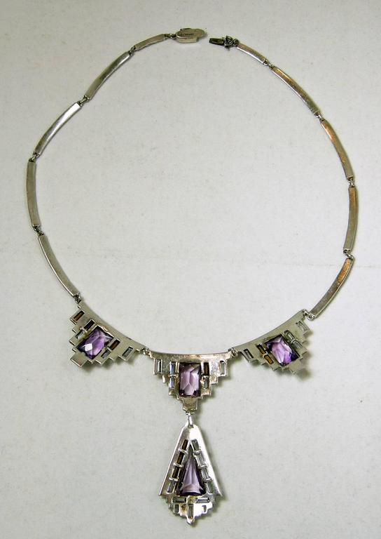 Vintage 1920s Amethyst & Marcasite Sterling Silver German Necklace 2