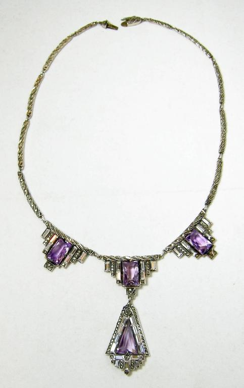 Vintage 1920s Amethyst & Marcasite Sterling Silver German Necklace 3