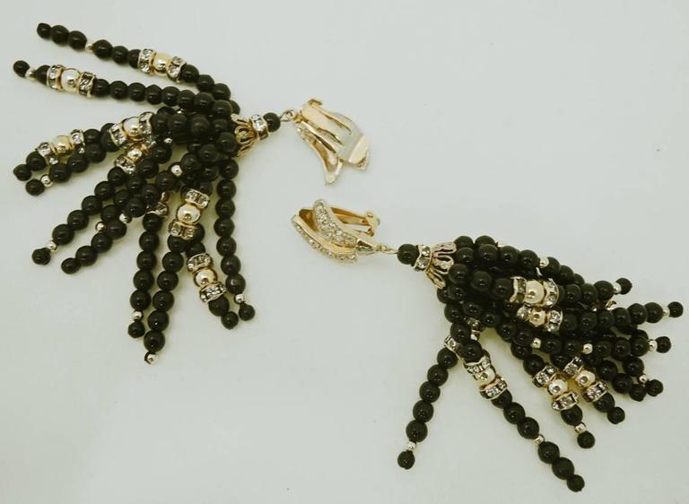 Vintage Long Black Bead & Crystal Tassel Earrings 2