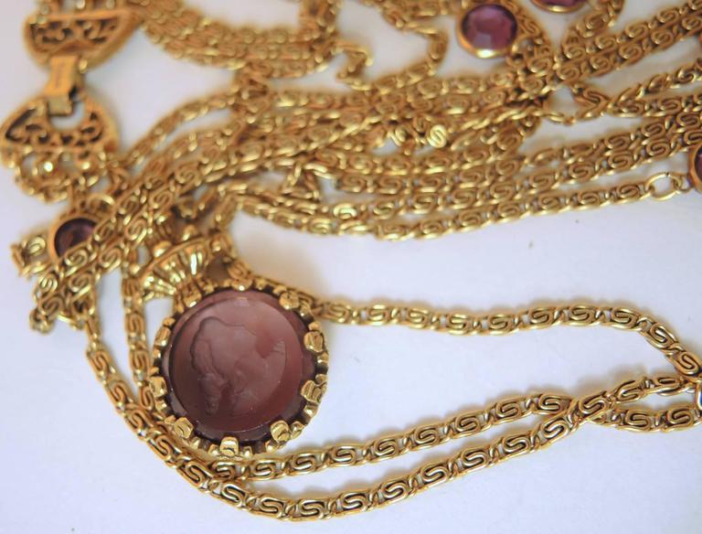 Vintage 1960s Signed 3-Strand Goldette Necklace For Sale 1