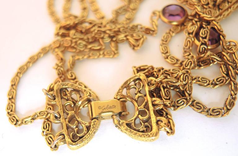 Vintage 1960s Signed 3-Strand Goldette Necklace 4